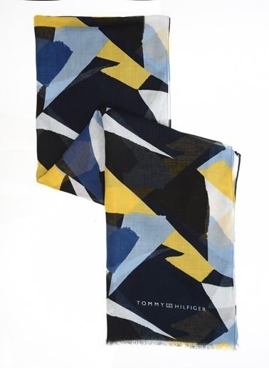 Tommy Hilfiger Kadın Prınted Colorblock Scarf Atkı AW0AW06334 Mavi